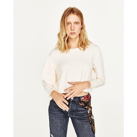 8f09f19ea4d27 NWT Zara Light Peach Cropped Side Frilled Sweater
